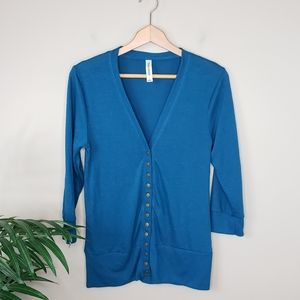 Zenana Outfitters | Teal Snap Cardigan